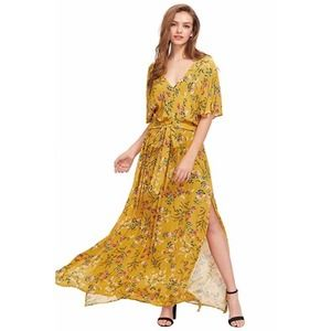 Yellow Maxi Dress with Pink Floral Pattern Size M